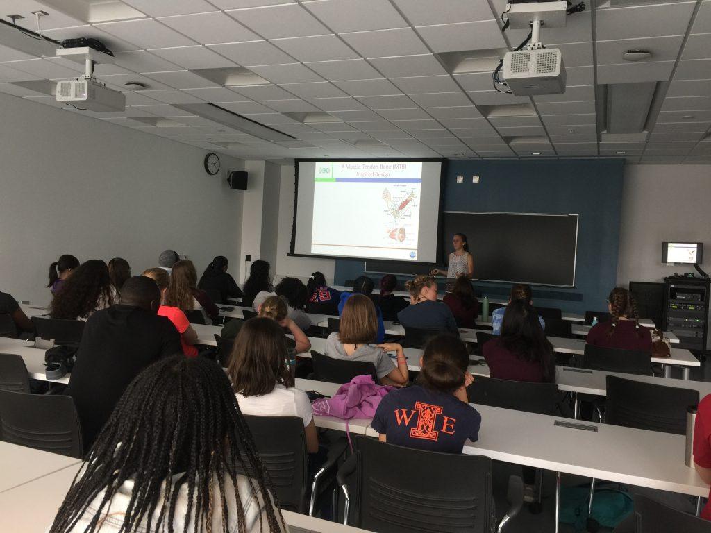 Lauren Grant presents a lecture on biobots