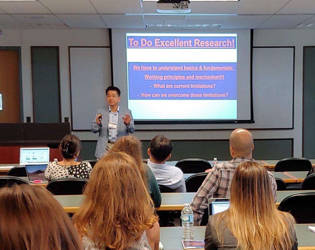 Taeghwan Hyeon gives a plenary talk at the MBM Retreat.