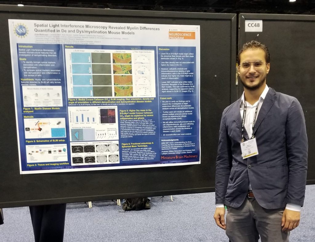Jorge Maldonado De-Jesus presents a poster with his research at the annual Society for Neuroscience Conference, 2019.